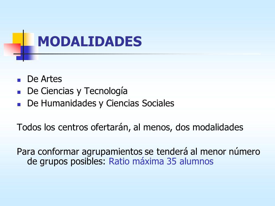MODALIDADES De Artes De Ciencias y Tecnología De Humanidades y Ciencias Sociales Todos los centros ofertarán, al menos, dos modalidades Para conformar