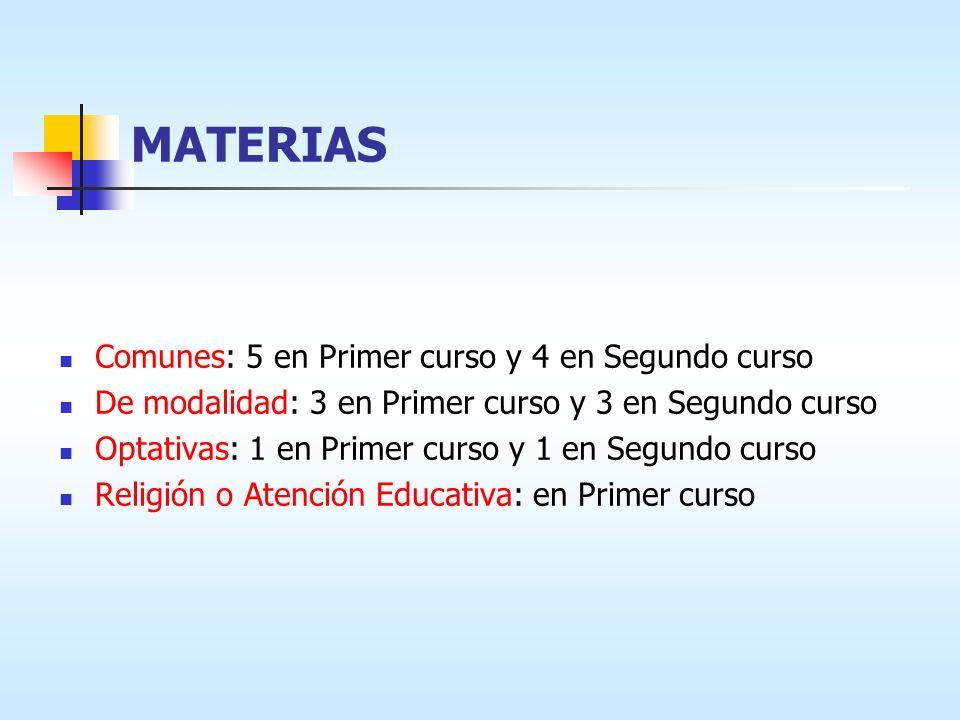 MATERIAS Comunes: 5 en Primer curso y 4 en Segundo curso De modalidad: 3 en Primer curso y 3 en Segundo curso Optativas: 1 en Primer curso y 1 en Segu