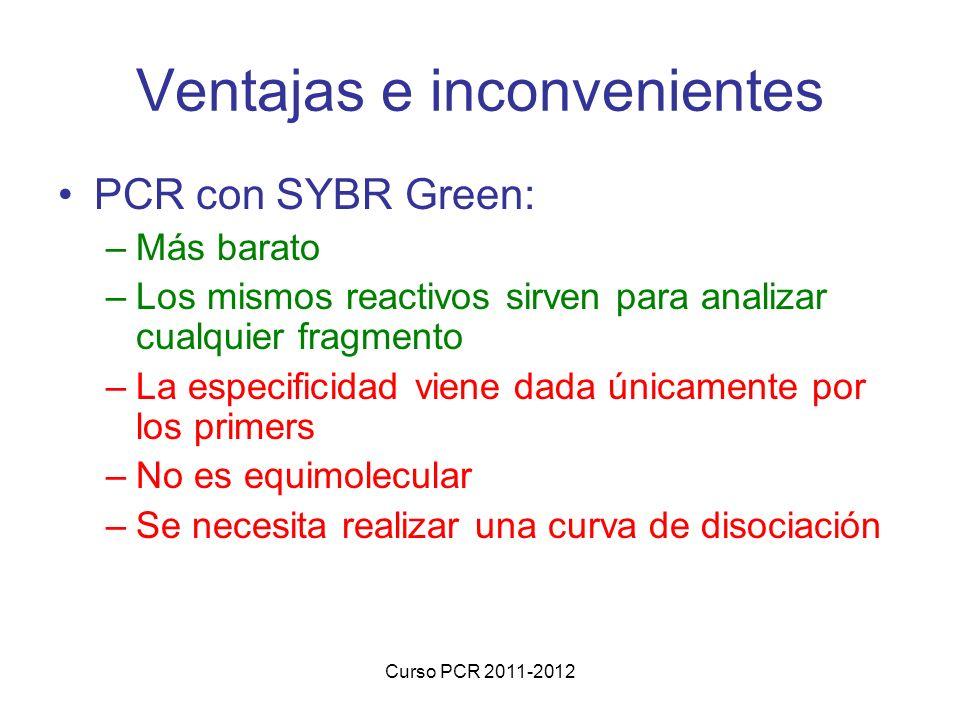 Curso PCR 2011-2012 Ventajas e inconvenientes PCR con SYBR Green: –Más barato –Los mismos reactivos sirven para analizar cualquier fragmento –La especificidad viene dada únicamente por los primers –No es equimolecular –Se necesita realizar una curva de disociación