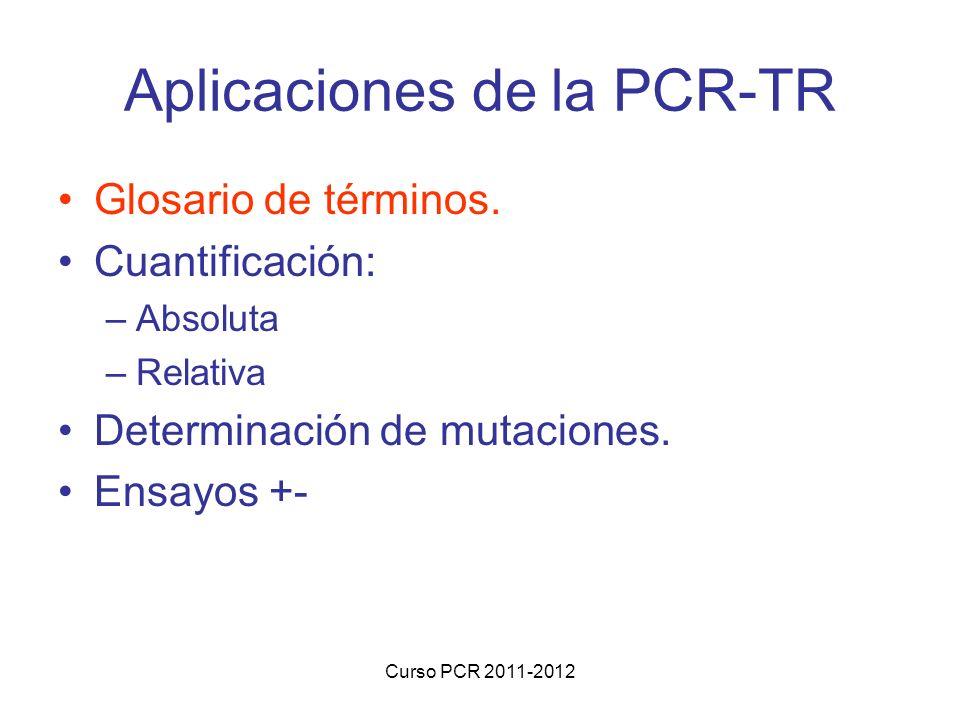 Curso PCR 2011-2012 Aplicaciones de la PCR-TR Glosario de términos. Cuantificación: –Absoluta –Relativa Determinación de mutaciones. Ensayos +-