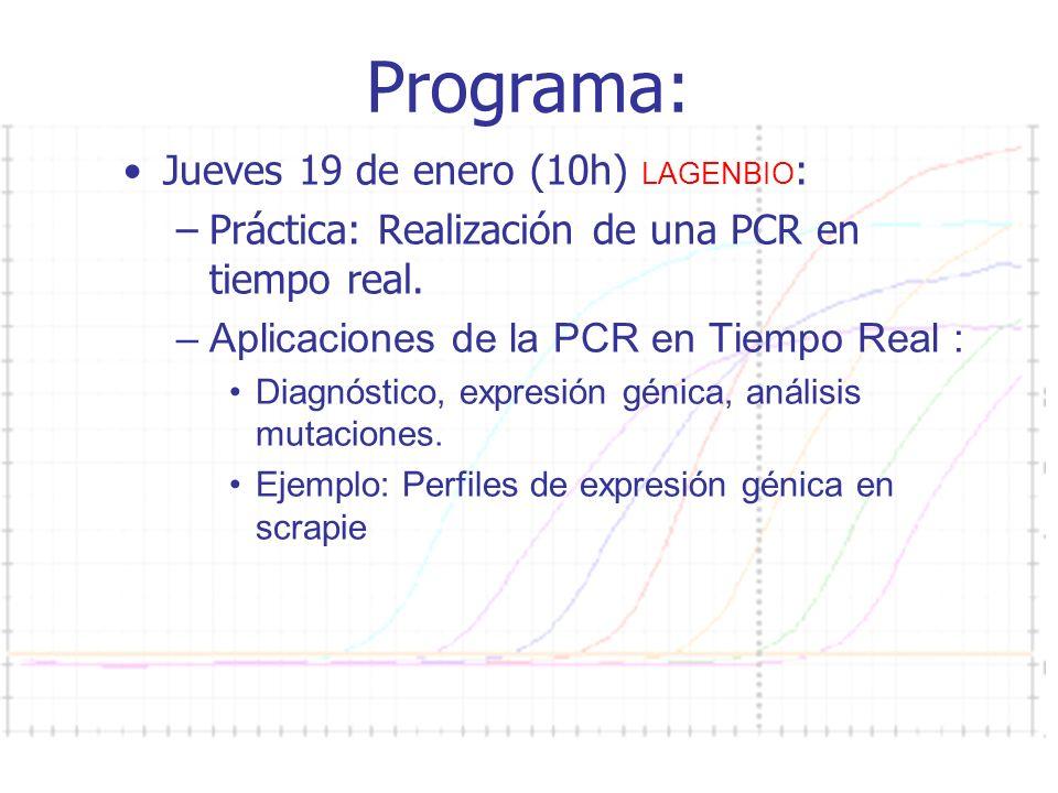 Curso PCR 2011-2012 Programa: Jueves 19 de enero (10h) LAGENBIO : –Práctica: Realización de una PCR en tiempo real.