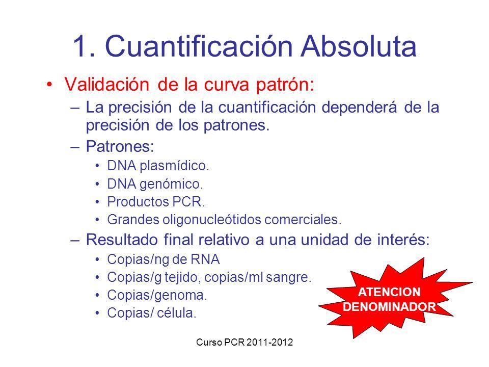 Curso PCR 2011-2012 1. Cuantificación Absoluta Validación de la curva patrón: –La precisión de la cuantificación dependerá de la precisión de los patr