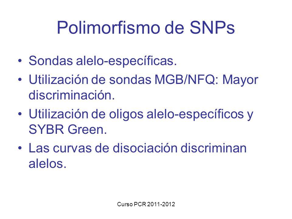 Curso PCR 2011-2012 Polimorfismo de SNPs Sondas alelo-específicas. Utilización de sondas MGB/NFQ: Mayor discriminación. Utilización de oligos alelo-es