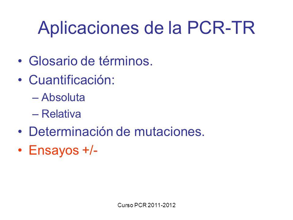 Curso PCR 2011-2012 Aplicaciones de la PCR-TR Glosario de términos. Cuantificación: –Absoluta –Relativa Determinación de mutaciones. Ensayos +/-