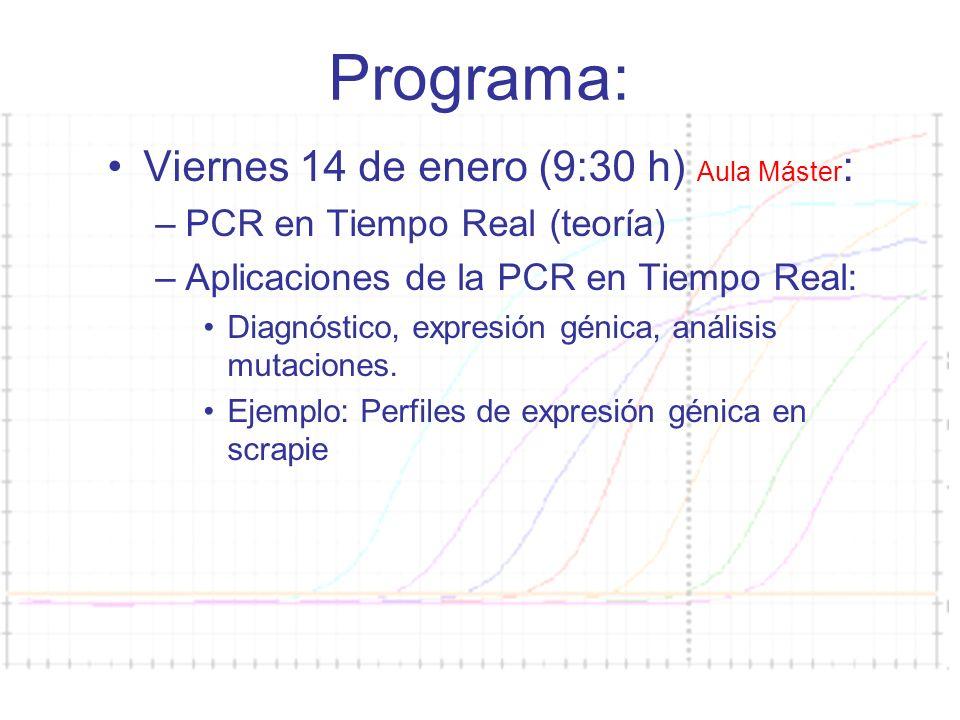 Curso PCR 2011-2012 Programa: Viernes 14 de enero (9:30 h) Aula Máster : –PCR en Tiempo Real (teoría) –Aplicaciones de la PCR en Tiempo Real: Diagnóstico, expresión génica, análisis mutaciones.