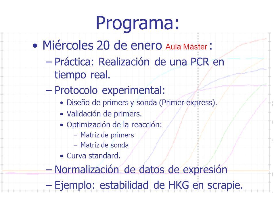 Curso PCR 2011-2012 Programa: Miércoles 20 de enero Aula Máster : –Práctica: Realización de una PCR en tiempo real. –Protocolo experimental: Diseño de