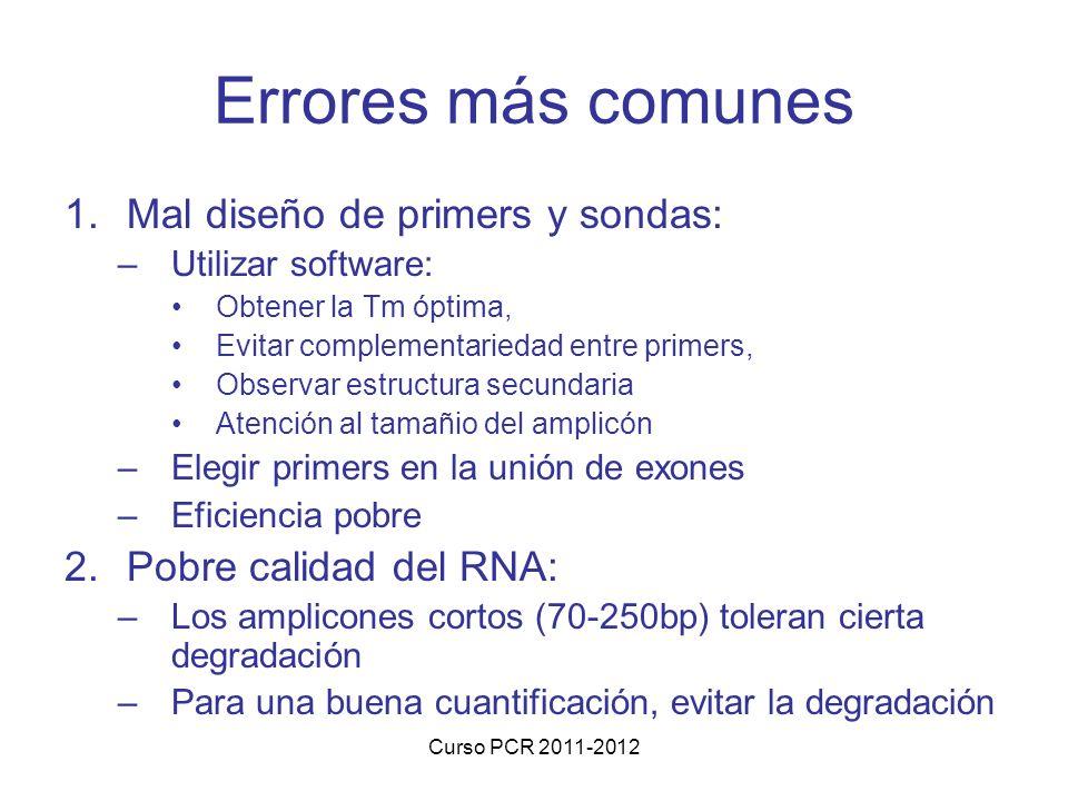 Curso PCR 2011-2012 Errores más comunes 1.Mal diseño de primers y sondas: –Utilizar software: Obtener la Tm óptima, Evitar complementariedad entre pri