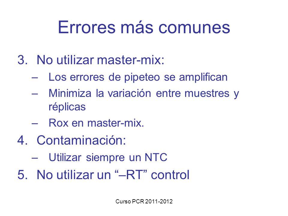 Curso PCR 2011-2012 Errores más comunes 3.No utilizar master-mix: –Los errores de pipeteo se amplifican –Minimiza la variación entre muestres y réplicas –Rox en master-mix.