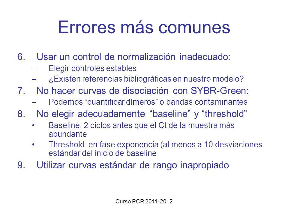Curso PCR 2011-2012 Errores más comunes 6.Usar un control de normalización inadecuado: –Elegir controles estables –¿Existen referencias bibliográficas en nuestro modelo.