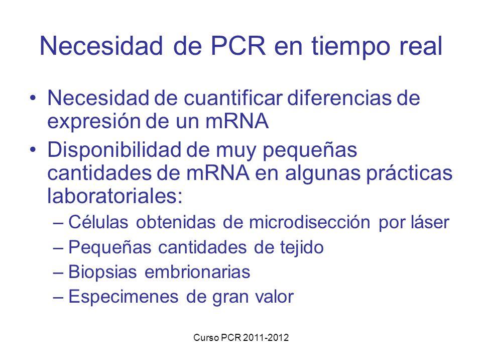 Curso PCR 2011-2012 Necesidad de PCR en tiempo real Necesidad de cuantificar diferencias de expresión de un mRNA Disponibilidad de muy pequeñas cantidades de mRNA en algunas prácticas laboratoriales: –Células obtenidas de microdisección por láser –Pequeñas cantidades de tejido –Biopsias embrionarias –Especimenes de gran valor