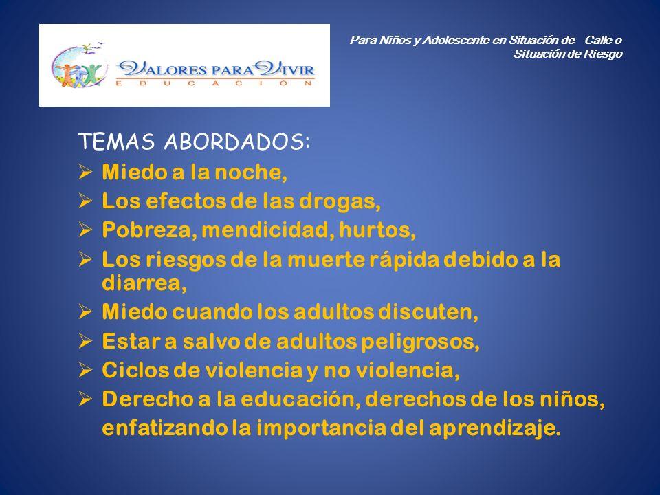 TEMAS ABORDADOS: Miedo a la noche, Los efectos de las drogas, Pobreza, mendicidad, hurtos, Los riesgos de la muerte rápida debido a la diarrea, Miedo