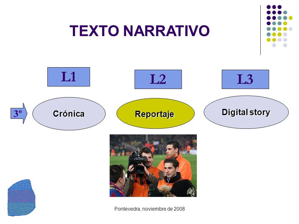 Pontevedra, noviembre de 2008 TEXTO NARRATIVO Crónica Reportaje Digital story 3º L1 L2L3