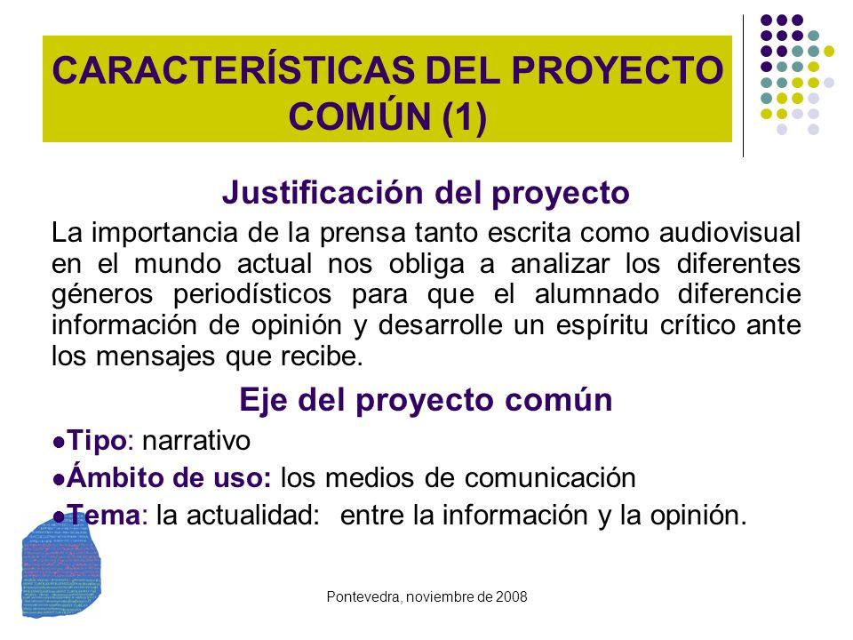 Pontevedra, noviembre de 2008 CARACTERÍSTICAS DEL PROYECTO COMÚN (1) Justificación del proyecto La importancia de la prensa tanto escrita como audiovi