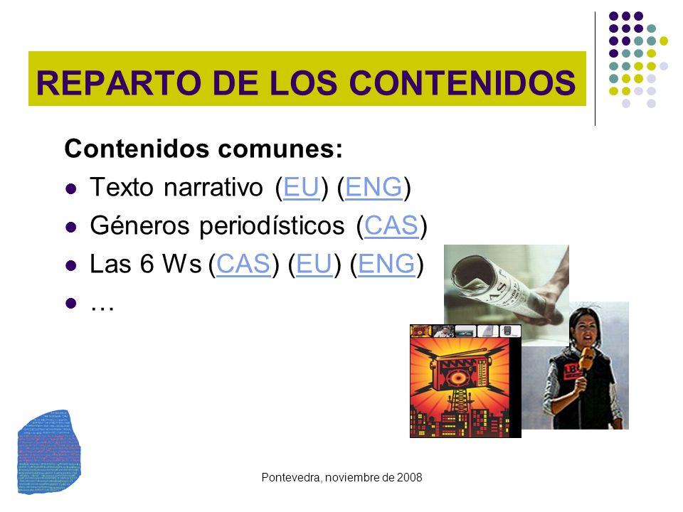 Pontevedra, noviembre de 2008 REPARTO DE LOS CONTENIDOS Contenidos comunes: Texto narrativo (EU) (ENG)EUENG Géneros periodísticos (CAS)CAS Las 6 Ws (C