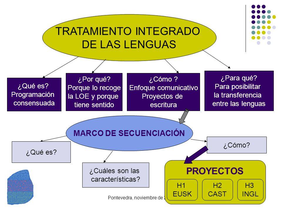 Pontevedra, noviembre de 2008 TRATAMIENTO INTEGRADO DE LAS LENGUAS ¿Para qué? Para posibilitar la transferencia entre las lenguas ¿Qué es? Programació