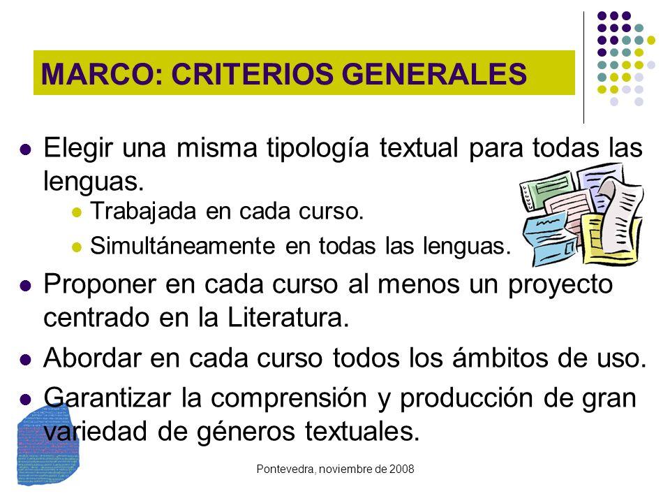 Pontevedra, noviembre de 2008 MARCO: CRITERIOS GENERALES Elegir una misma tipología textual para todas las lenguas. Trabajada en cada curso. Simultáne