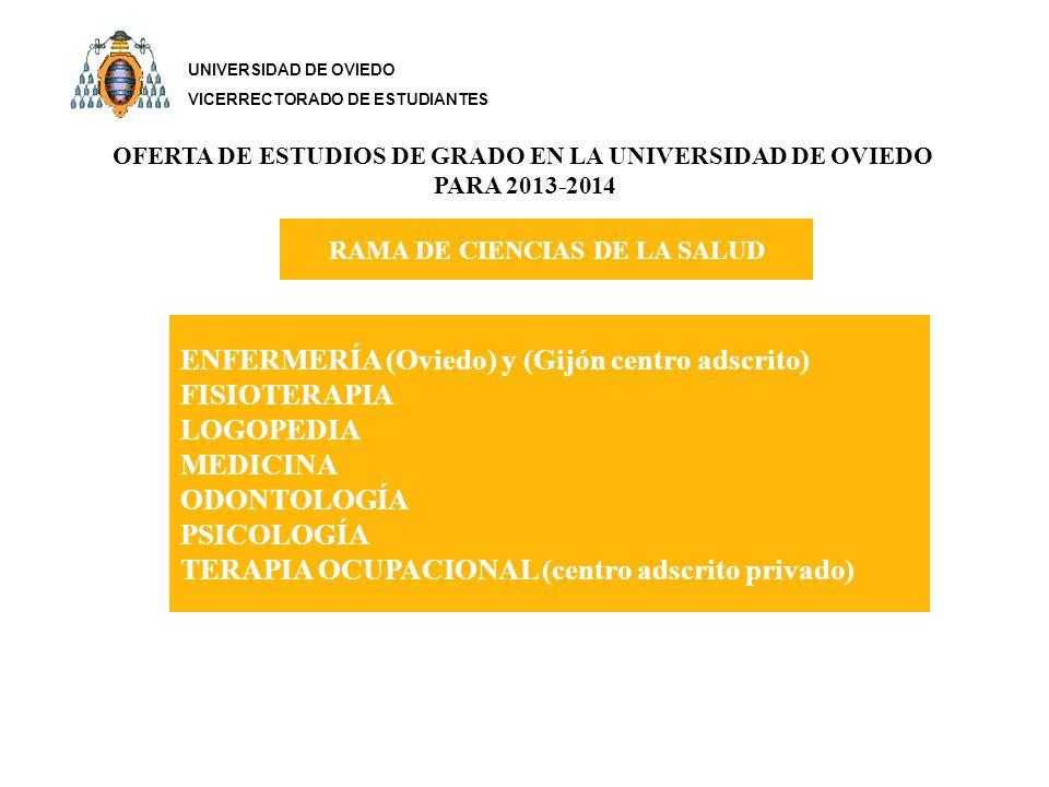 OFERTA DE ESTUDIOS DE GRADO EN LA UNIVERSIDAD DE OVIEDO PARA 2013-2014 RAMA DE CIENCIAS DE LA SALUD ENFERMERÍA (Oviedo) y (Gijón centro adscrito) FISIOTERAPIA LOGOPEDIA MEDICINA ODONTOLOGÍA PSICOLOGÍA TERAPIA OCUPACIONAL (centro adscrito privado) UNIVERSIDAD DE OVIEDO VICERRECTORADO DE ESTUDIANTES