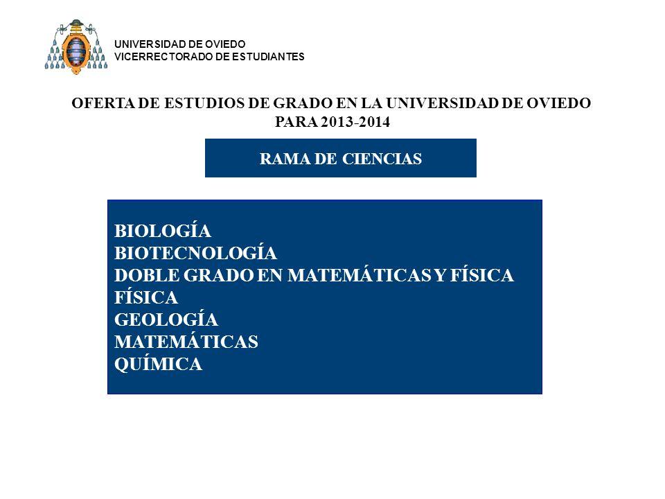 OFERTA DE ESTUDIOS DE GRADO EN LA UNIVERSIDAD DE OVIEDO PARA 2013-2014 RAMA DE CIENCIAS BIOLOGÍA BIOTECNOLOGÍA DOBLE GRADO EN MATEMÁTICAS Y FÍSICA FÍSICA GEOLOGÍA MATEMÁTICAS QUÍMICA UNIVERSIDAD DE OVIEDO VICERRECTORADO DE ESTUDIANTES