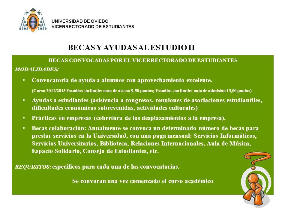 BECAS CONVOCADAS POR EL VICERRECTORADO DE ESTUDIANTES MODALIDADES: Convocatoria de ayuda a alumnos con aprovechamiento excelente.