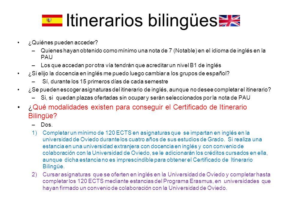 Itinerarios bilingües ¿Quiénes pueden acceder.