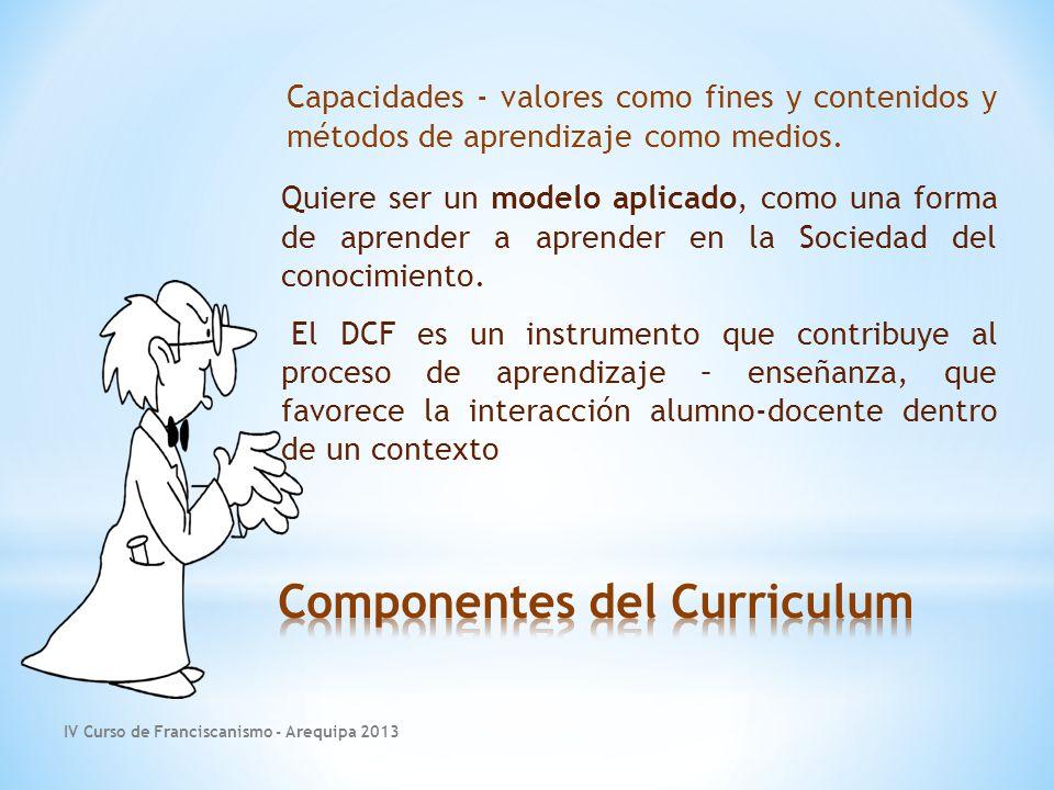 IV Curso de Franciscanismo - Arequipa 2013 Capacidades - valores como fines y contenidos y métodos de aprendizaje como medios.