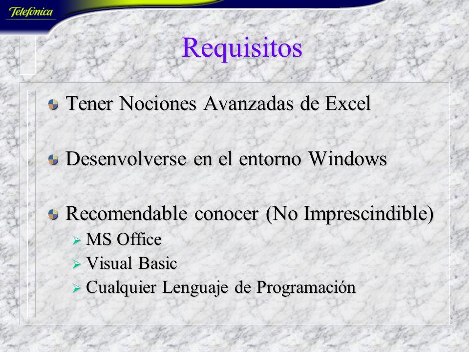Visual Excel IUP-0818 (30 horas) Profesor: J. Joaquín Caselles Pomares