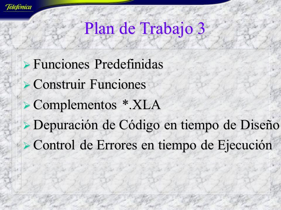 Plan de Trabajo 2 Programación Basada en Objetos Programación Basada en Objetos Los Objetos de Excel Los Objetos de Excel Propiedades, Métodos y Event