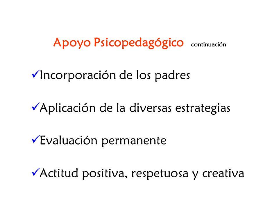 Apoyo Psicopedagógico continuación Incorporación de los padres Aplicación de la diversas estrategias Evaluación permanente Actitud positiva, respetuos