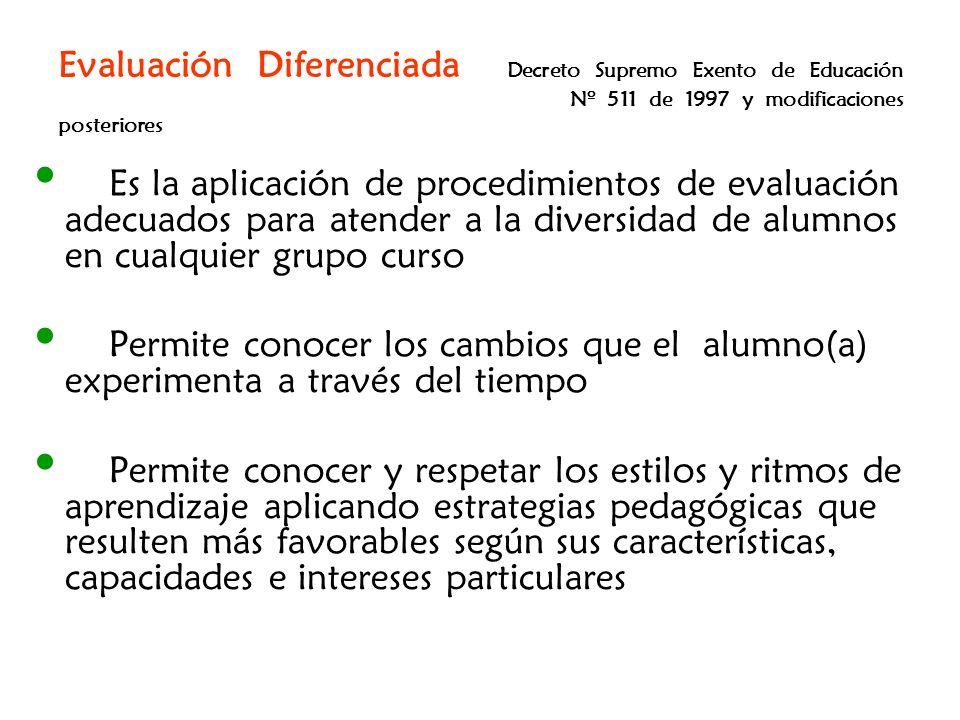 Evaluación Diferenciada Decreto Supremo Exento de Educación Nº 511 de 1997 y modificaciones posteriores Es la aplicación de procedimientos de evaluaci