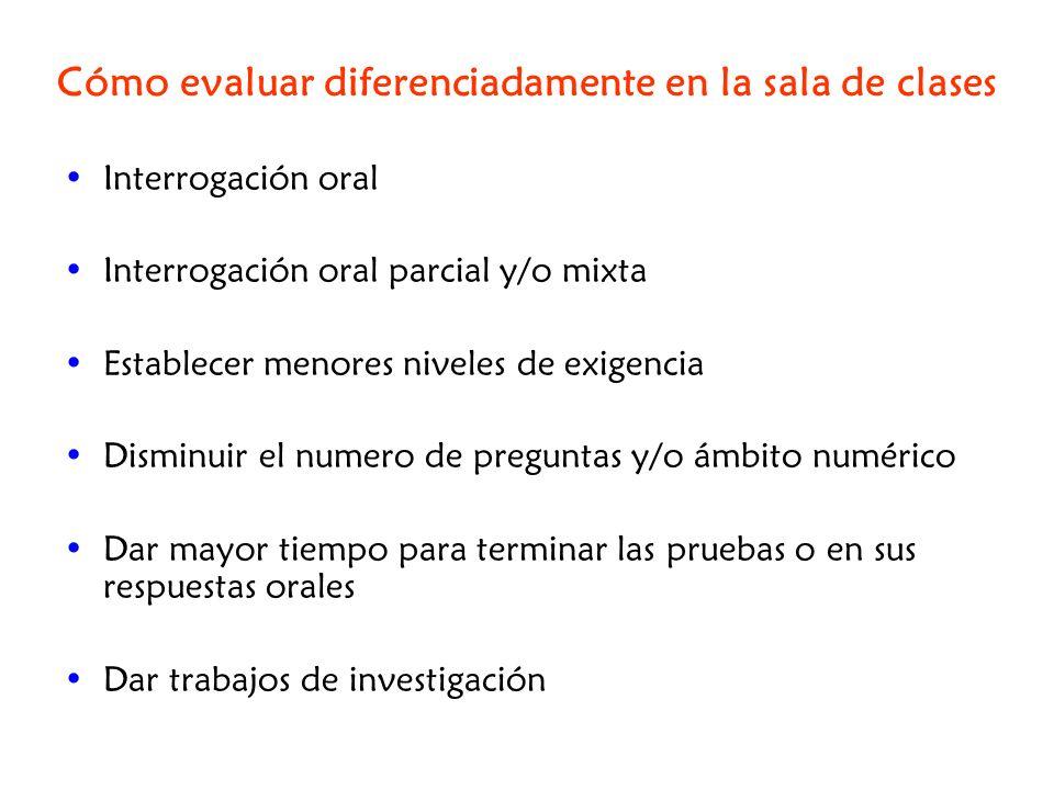 Cómo evaluar diferenciadamente en la sala de clases Interrogación oral Interrogación oral parcial y/o mixta Establecer menores niveles de exigencia Di