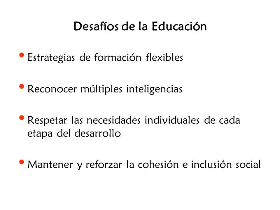Desafíos de la Educación Estrategias de formación flexibles Reconocer múltiples inteligencias Respetar las necesidades individuales de cada etapa del