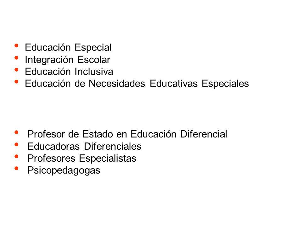 Educación Especial Integración Escolar Educación Inclusiva Educación de Necesidades Educativas Especiales Profesor de Estado en Educación Diferencial