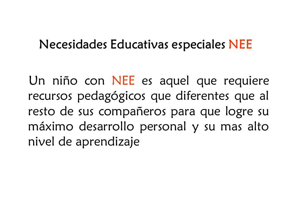 Necesidades Educativas especiales NEE Un niño con NEE es aquel que requiere recursos pedagógicos que diferentes que al resto de sus compañeros para qu