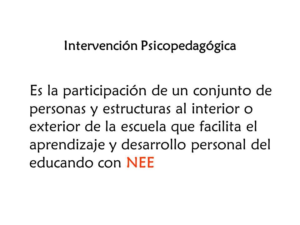Intervención Psicopedagógica Es la participación de un conjunto de personas y estructuras al interior o exterior de la escuela que facilita el aprendi