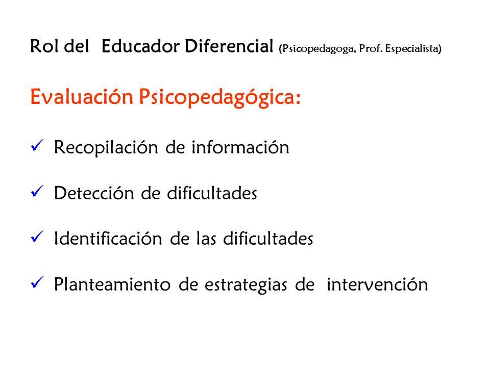 Rol del Educador Diferencial (Psicopedagoga, Prof. Especialista) Evaluación Psicopedagógica: Recopilación de información Detección de dificultades Ide