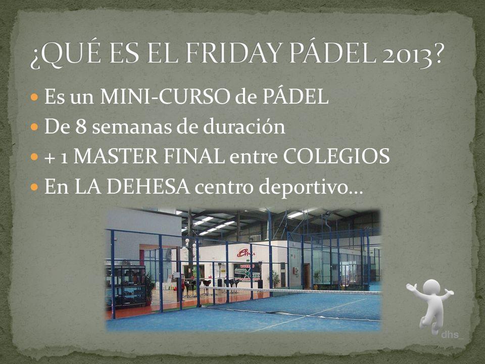 Es un MINI-CURSO de PÁDEL De 8 semanas de duración + 1 MASTER FINAL entre COLEGIOS En LA DEHESA centro deportivo…