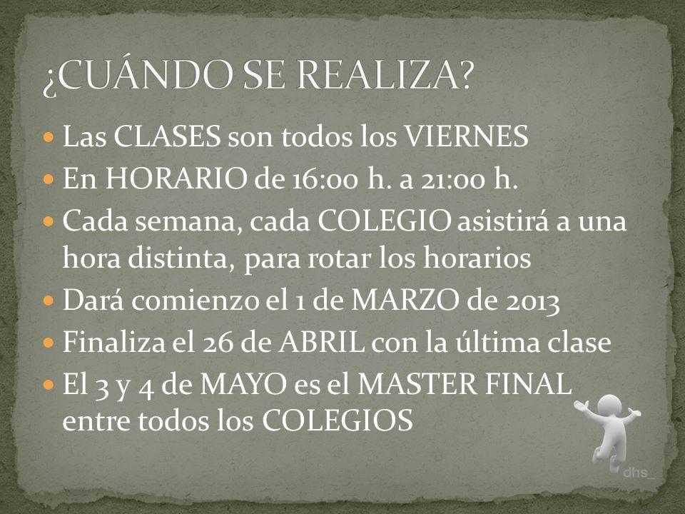 Las CLASES son todos los VIERNES En HORARIO de 16:00 h.