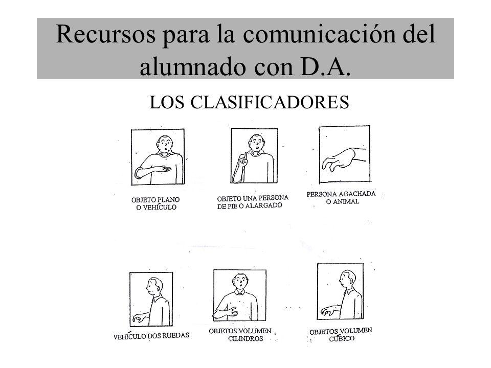 Recursos para la comunicación del alumnado con D.A. LOS CLASIFICADORES
