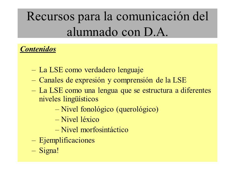 Contenidos –La LSE como verdadero lenguaje –Canales de expresión y comprensión de la LSE –La LSE como una lengua que se estructura a diferentes niveles lingüísticos –Nivel fonológico (querológico) –Nivel léxico –Nivel morfosintáctico –Ejemplificaciones –Signa.