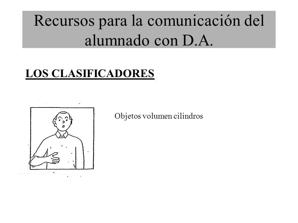 Recursos para la comunicación del alumnado con D.A. LOS CLASIFICADORES Objetos volumen cilindros
