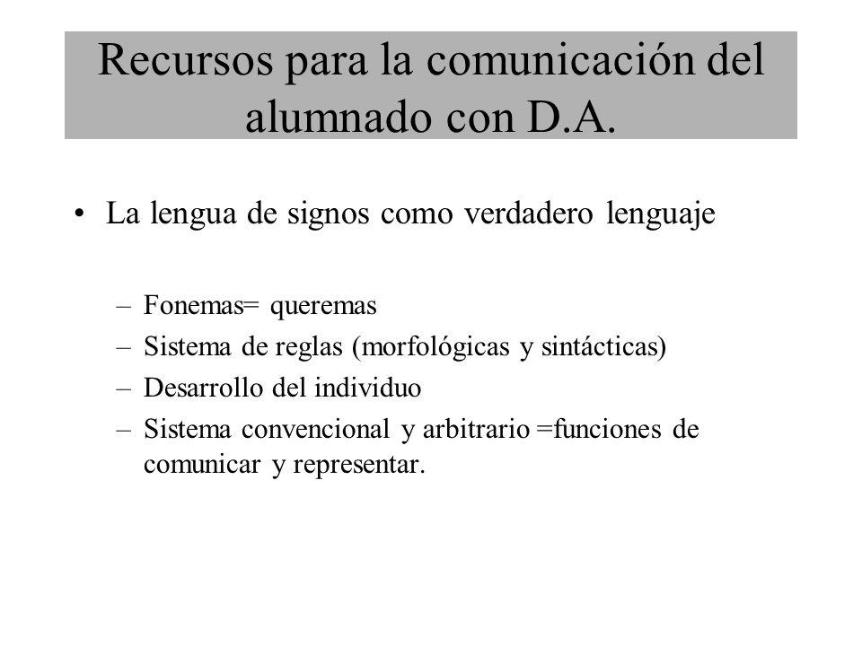 La lengua de signos como verdadero lenguaje –Fonemas= queremas –Sistema de reglas (morfológicas y sintácticas) –Desarrollo del individuo –Sistema convencional y arbitrario =funciones de comunicar y representar.