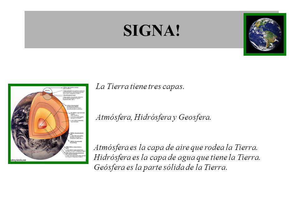 SIGNA.La Tierra tiene tres capas. Atmósfera, Hidrósfera y Geosfera.