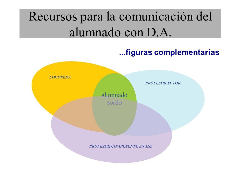 ...figuras complementarias Recursos para la comunicación del alumnado con D.A.