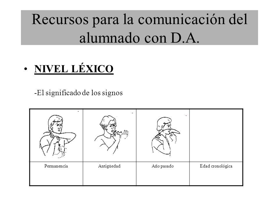 NIVEL LÉXICO -El significado de los signos PermanenciaAntigüedadAño pasadoEdad cronológica Recursos para la comunicación del alumnado con D.A.