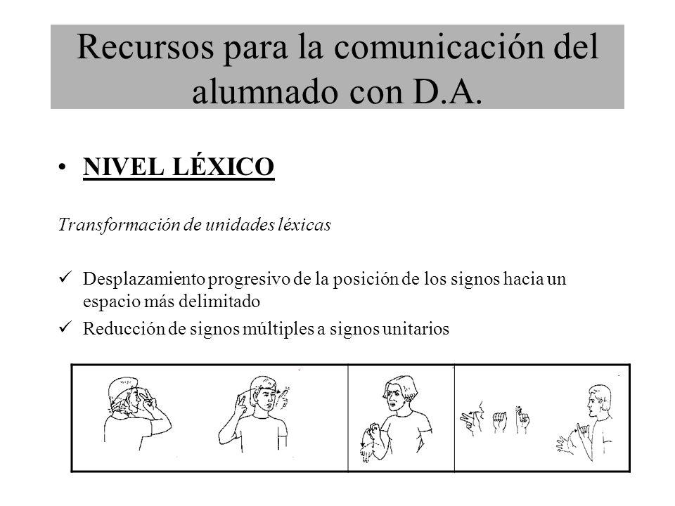 NIVEL LÉXICO Transformación de unidades léxicas Desplazamiento progresivo de la posición de los signos hacia un espacio más delimitado Reducción de signos múltiples a signos unitarios Recursos para la comunicación del alumnado con D.A.