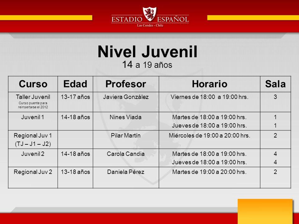 Nivel Juvenil 14 a 19 años CursoEdadProfesorHorarioSala Taller Juvenil Curso puente para reinsertarse el 2012 13-17 añosJaviera GonzálezViernes de 18: