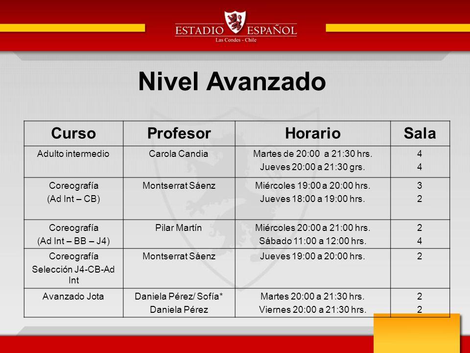 Nivel Avanzado CursoProfesorHorarioSala Adulto intermedioCarola CandiaMartes de 20:00 a 21:30 hrs.