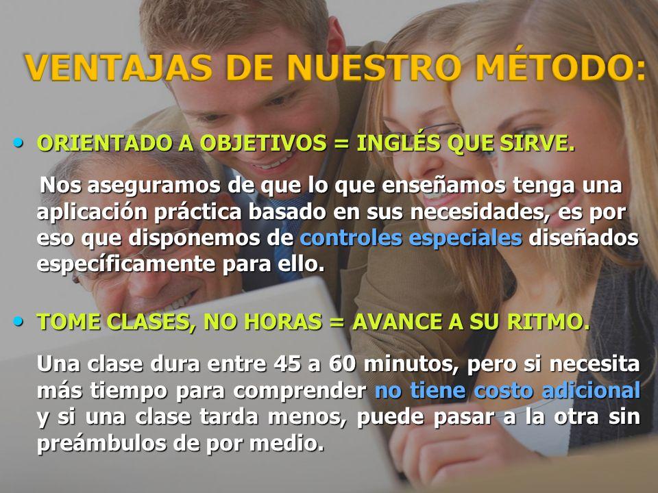VENTAJAS DE NUESTRO MÉTODO (1) CLASE GARANTIZADA = NO PERDERÁ SU INVERSIÓN.