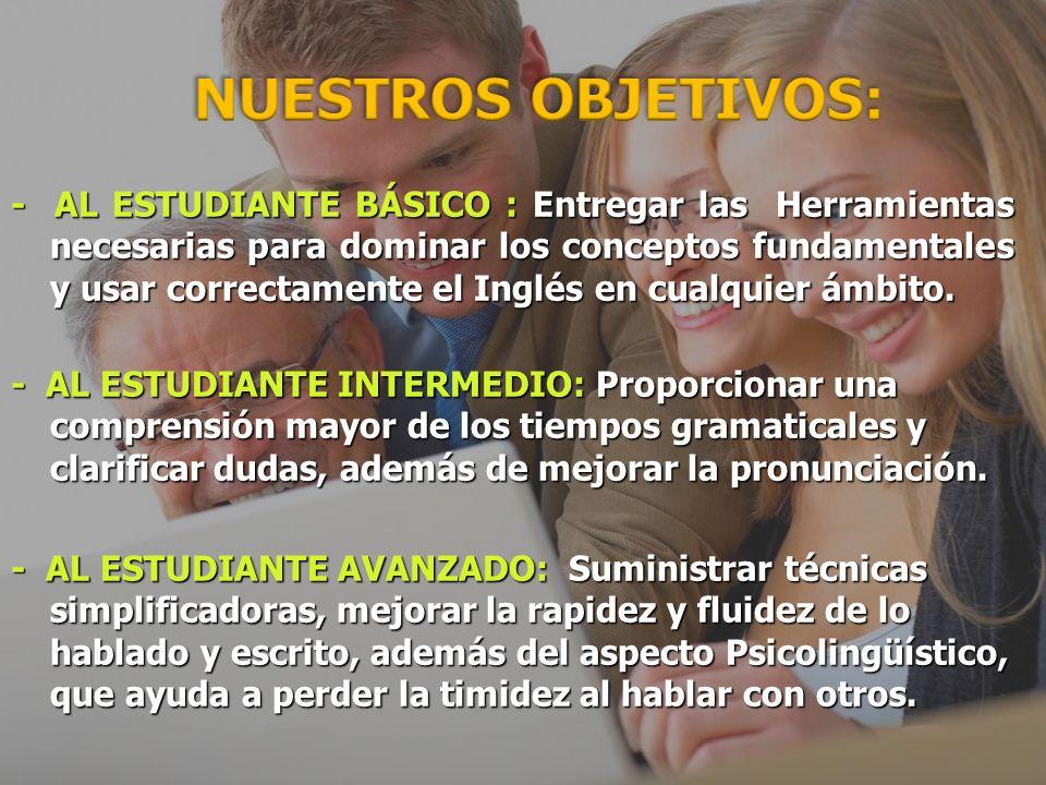 NUESTROS OBJETIVOS - AL ESTUDIANTE BÁSICO : Entregar las Herramientas necesarias para dominar los conceptos fundamentales y usar correctamente el Inglés en cualquier ámbito.
