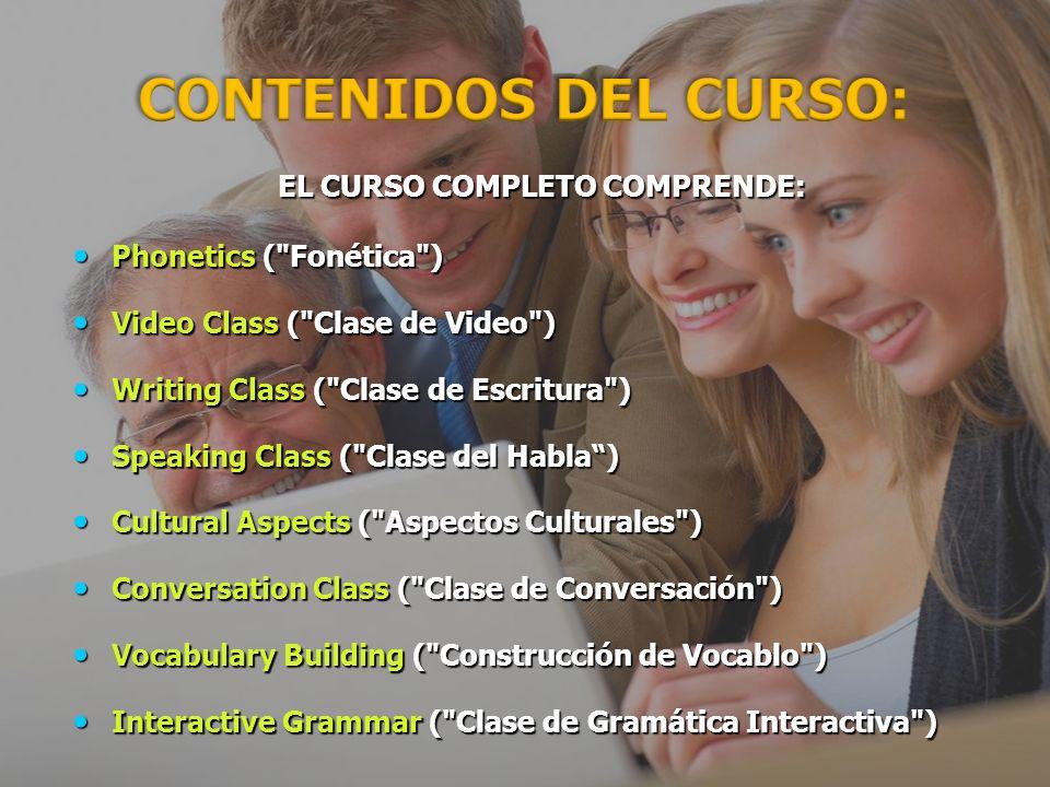 EL CURSO COMPLETO COMPRENDE: EL CURSO COMPLETO COMPRENDE: Phonetics ( Fonética ) Phonetics ( Fonética ) Video Class ( Clase de Video ) Video Class ( Clase de Video ) Writing Class ( Clase de Escritura ) Writing Class ( Clase de Escritura ) Speaking Class ( Clase del Habla) Speaking Class ( Clase del Habla) Cultural Aspects ( Aspectos Culturales ) Cultural Aspects ( Aspectos Culturales ) Conversation Class ( Clase de Conversación ) Conversation Class ( Clase de Conversación ) Vocabulary Building ( Construcción de Vocablo ) Vocabulary Building ( Construcción de Vocablo ) Interactive Grammar ( Clase de Gramática Interactiva ) Interactive Grammar ( Clase de Gramática Interactiva ) CONTENIDOS DEL CURSO